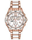 Citizen Eco Drive Rose Gold Ceramic Dial Chronograph Women's Watch FB1233-51A