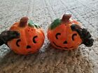 Lefton Pumpkin with Black Cat Salt and Pepper Shakers Never used