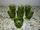 6 Vintage Indiana Glass Green Kings Crown Thumbprint Stemmed Water Wine Glasses