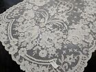 Antique Vintage Embroidered Net LACE Table Runner Ivory Gorgeous Wedding Tag