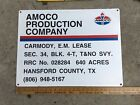 "Vintage AMOCO Oil Gas Lease Sign Metal Texas Standard American Oil 24""x18"""