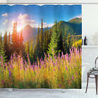 Nature Shower Curtain Spring Flowers Mountain Print for Bathroom