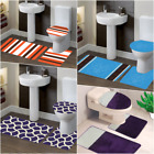 SOLID GREEK KEY 3PC SET BATHROOM BATH MAT COUNTOUR RUG TOILET LID COVER (#10)