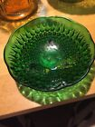 Anchor Hocking Green Glass 3 Footed 6 1/2 Inch Hobnail Teardrop Serving Bowl
