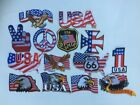 14 Pcs USA Flag in Designs Embroidered Patches iron on