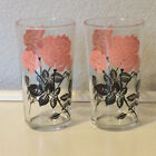 Continental Can Company CCC vtg MCM pink black rose flower glass Hazel Atlas EUC