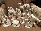 Vintage Holland Mold 13 Piece Nativity Set Antique White With Gold 8 Tall