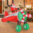 8L Inflatable Santa Flying by Plane Airblown Christmas Yard Decorations w LED