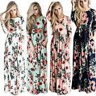 US Womens Floral Long Maxi Dress Long Sleeve Cocktail Party Tunic Beach Sundress