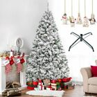 Christmas Tree W Stand Xmas Snow White Pine Indoor Outdoor Green 5 6 7 8 Feet US