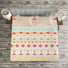 Tribal Quilted Bedspread  Pillow Shams Set Native Style Aztec Art Print
