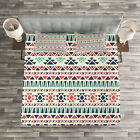 Tribal Quilted Bedspread  Pillow Shams Set Native Ethnic Artwork Print