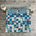 Abstract Quilted Bedspread  Pillow Shams Set Pastel Mosaic Pattern Print