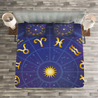 Astrology Quilted Bedspread  Pillow Shams Set Horoscope Birth Dates Print