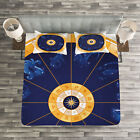 Astrology Quilted Bedspread  Pillow Shams Set Birth Chart Horoscope Print