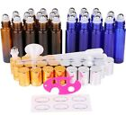 24 Pack 10ml Thick Glass Roller Bottles Roll on Bottle for Essential Oil Perfume