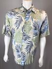 Mens Tori Richard USA SS Large 100 Viscose Beige Natural Floral Leaves Hawaiian