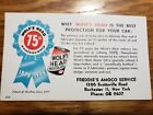 1954 WOLF'S HEAD MOTOR OIL 75TH ANNIVERSARY AMOCO SERVICE CARD ROCHESTER N.Y.