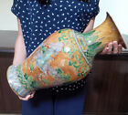 Rare Chinese Antique Yellow Ground and Green Enameled Figure  Large Vase w/ Mark