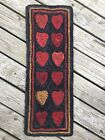Hand Made Primitive Style Hooked Rug Mat Maple Sugar Hearts Beautiful Colors