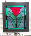 Stained Glass Red Tulip  Panel w/frame & Beveled #2