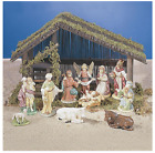 11 piece Full ceramic Nativity Set with Wooden Stable Christmas Decor