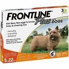 FRONTLINE Plus Flea and Tick Control for 5 22lbs Dogs 3 Doses NOBOX