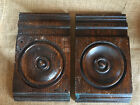 A Pair Antique Carved Wood Plinth Blocks Architectural Trim Door Moulding