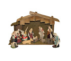 11 Piece Indoor Nativity Figurine Set with Stable Christmas Holiday Decor