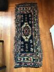 Antique Oriental Rug Table Topper Navy Blue Hand Made 44