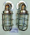NAUTICAL VINTAGE STYLE PASSAGE WAY BULKHEAD ALUMINIUM   NEW LIGHT SET OF 2