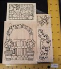 NEW Whipper Snapper Rubber Stamp Set Flowers Friends Saying Wood Gate Bee Posies