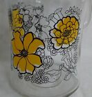Vintage Retro Groovy 1960s Ice Lip Glass Pitcher Yellow Flowers