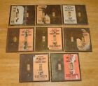 Antique / Vintage Lot (8) Solid Brass 2 Gang Switch Plate Covers w/ Paper Labels