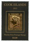 COOK ISLANDS STAMPS MNH 1 Penny Black 2013  in Gold