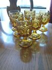 6 LE. SMITH GLASS AMBER MOON AND STARS GOBLETS 6