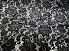 Discount Fabric Stretch Mesh Lace Black Floral Sheer B203