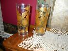 VINTAGE CULVER ART GLASS GOLD EMBOSSED LEAVES FLOWERS HIGHBALL TU