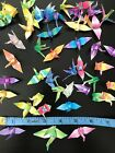 ORIGAMI CRANES Lot of 75 Folded Paper Birds Various Ombre Colors
