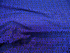 Discount Fabric Stretch Mesh Lace Black Royal Blue Embroidered Circles Sheer D20