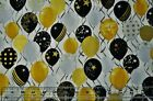 By the 1 2 yd cotton quilt fabric Celebrate balloons gold metallic black white