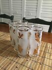 Starlyte Set Of 6 Frosted Drinking Glasses With Gold Leaf Design 1950's