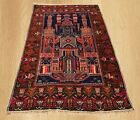 Authentic Hand Knotted Vintage Afghan Taimani Balouch Wool Area Rug 5x3 Ft(4336)