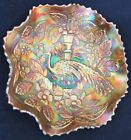 Spectacular Fenton Persian Blue Peacock and Urn Carnival Glass Ruffled Bowl