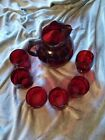 Vintage Bubble Ruby Red Glass Pitcher and Tumblers Set Anchor Hocking