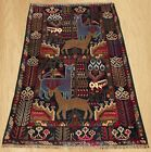 Authentic Hand Knotted Afghan Aksi Balouch pictorial Wool Area Rug 5 x 3 (5440)