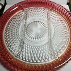 Vintage Indiana Glass Diamond Point Cranberry Flash Heavy 3 Part Relish Dish