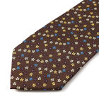 New EMARINELLA NAPOLI Brown Blue Yellow Plum Floral Print Silk Tie