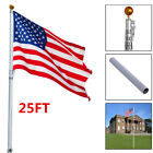 Flagpole Aluminum Kit Sectional Telescopic Halyard Pole 25ft with American Flag