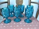 6 LE. SMITH GLASS TURQUOISE BLUE MOON AND STARS GOBLETS 6